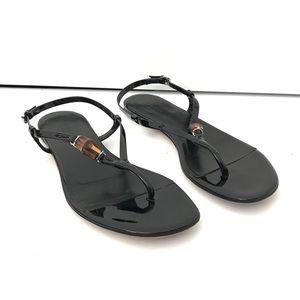 Gucci Vitello Vernice Soft Nero Strappy Sandals